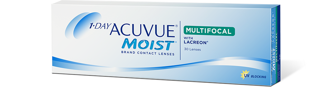 Abbildung einer Packung 1-DAY-ACUVUE® MOIST MULTIFOCAL Kontaktlinsen